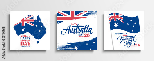 Fototapeta Australia Day, january 26 greeting cards set with hand lettering, brush strokes, waving australian national flag and map of Australia
