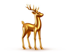 Deer Golden Volumetric 3D Desi...