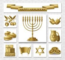 Hanukkah Greeting Card With Torah, Menorah And Dreidels. Golden Template