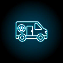 Pets, Ambulance Blue Neon Icon. Simple Thin Line, Outline Vector Of Petshop Icons For Ui And Ux, Website Or Mobile Application