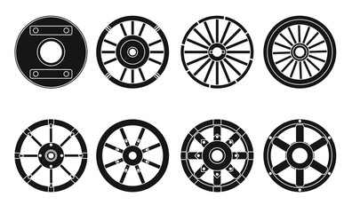 Wooden wheel vector black set icon.Vector illustration cart of wheel. Isolated black icon cartwheel for wagon on white background .