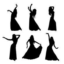Vector Set Of Silhouettes Of A Dancing Girl. Eastern Dance. A Woman Dressed In A Long Skirt Is Dancing