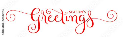 Comics SEASON'S GREETINGS red vector brush calligraphy banner with spirals