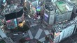 SHIBUYA, TOKYO, JAPAN -NOVEMBER 2019 : Aerial high angle top view of SHIBUYA scramble crossing. Crowd of people at the street. Japanese business and city lifestyle concept. Time lapse sunset to night.