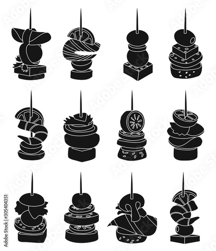Photo Canape of appetizer black vector illustration on white background