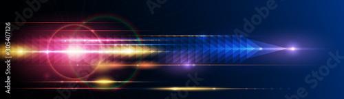 Obraz na plátně Illustration of light ray, stripe line with blue light, speed motion background