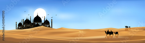 Photo Vector illustration group of Arab people with camels caravan riding in realistic