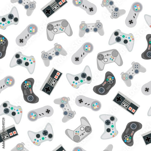 seamless-pattern-with-retro-gamepads-and-joysticks-isolated-on-white-background-vector-illustration