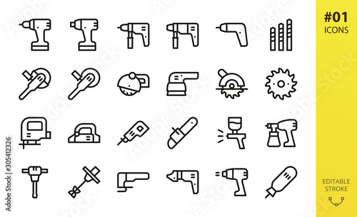 Obraz Power tools icons set. Set of cordless screwdriver, circular saw, electric planer, power drill, impact wrench driver, electric airbrush spray gun, angle grinder outline icons - fototapety do salonu