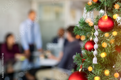 Christmas tree in business office - 305412748