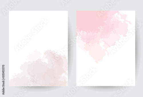 Obraz Dusty pink and taupe watercolor vector splash cards. - fototapety do salonu
