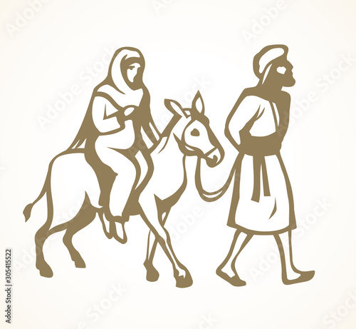 Joseph and Mary go to Bethlehem. Vector drawing Fototapete