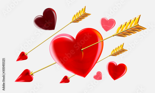 Valentines day love beautiful hearts with Cupid's arrows on white background Poster Mural XXL