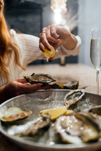 Oysters In A Round Metal Plate...