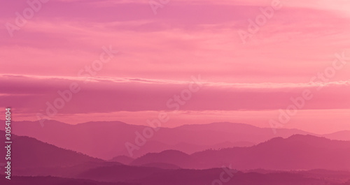 Beautiful landscape mountain range and purple sky at the sunset, twilight period which including of sunrise