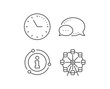 Ferris wheel line icon. Chat bubble, info sign elements. Amusement park sign. Carousels symbol. Linear ferris wheel outline icon. Information bubble. Vector