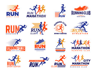 Sport logo. Healthy running marathon athletes sprinting badges vector collection isolated. Illustration runner fitness club, marathoner sportsman