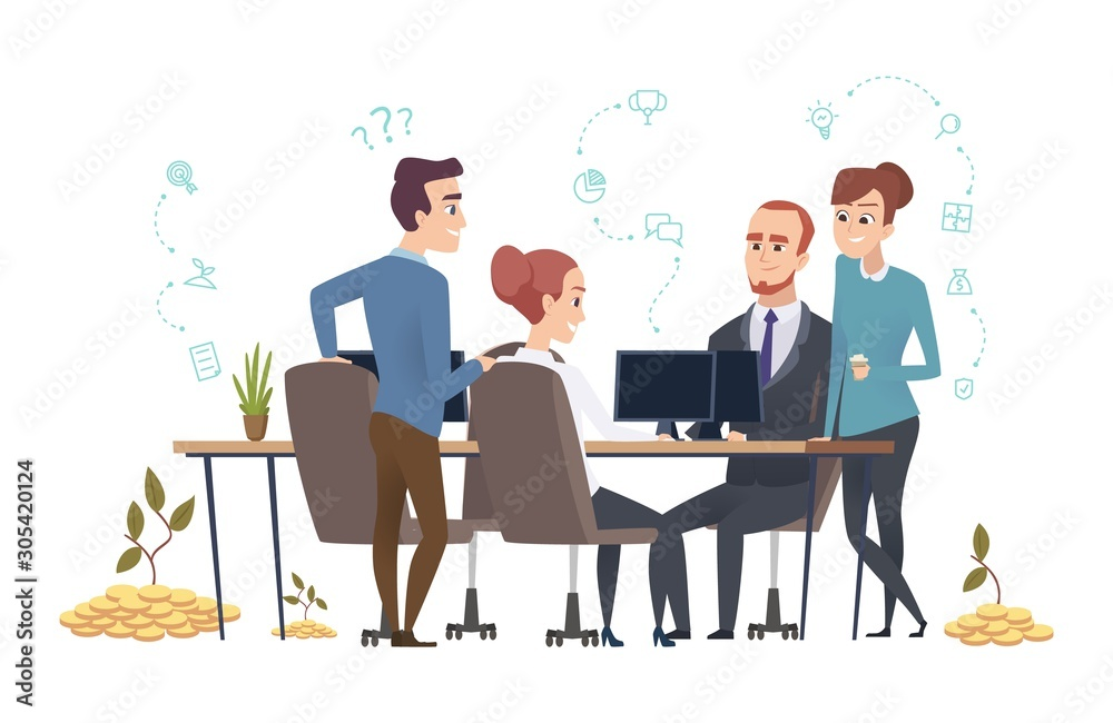 Fototapeta Effective business team. People group create a startup. Investors are discussing the project vector illustration. Teamwork startup management, corporate professional employee