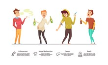 Addiction Dangerous. Danger Of Alcoholism, Drugs, Smoking Illustration. Addiction Male Vector Characters. Addiction Habit, Smoke And Drug