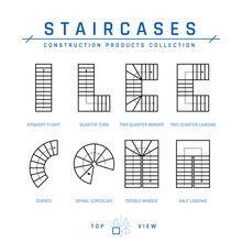 Staircases, Top View, Vector I...