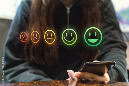 Photo Online internet shopping customer review retail experience using feedback happy