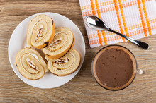 Slices Of Swiss Roll In Plate,...