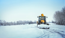 Snow Clearing. Tractor Clears ...