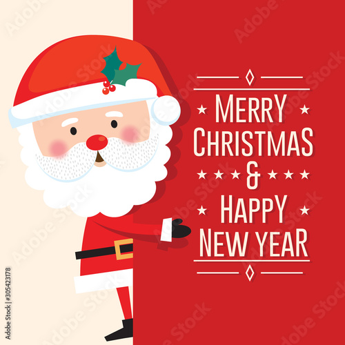 Obraz na plátně Cute Santa Clause with Merry Christmas and happy new year letter on red backgrou