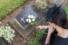 Mourning Young Woman Laying Wh...
