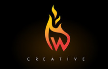 Flame W Letter Logo Design Ico...