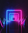 canvas print picture Sci Fi Futuristic night. bright Glowing pink and blue neon lights tunnel abstract background. 3d rendering