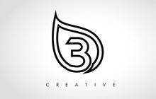 B Leaf Logo Letter Design With...