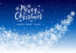 Christmas greeting card with shiny snowflakes on blue - vector background for winter holiday design