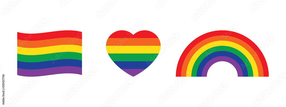 Fototapeta Rainbow colored flag, heart and rainbow icons. LGBTQI concept.