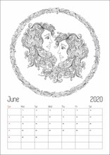 2020 Antistress Horoscope Calendar Planner, Doodle Illustration.