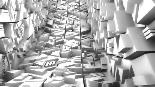 Valokuva  Greyscale Geometric Structure with Sharp Edges - 3D Illustration