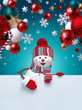 3d Snowman, Christmas Ornaments, Balls, Snowflakes, Stars, Isolated On Blue Background. Blank Banner With Copy Space, Greeting Card Template, Commercial Poster Mockup. Winter Holiday Concept