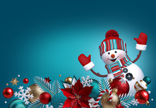 3d Snowman, Christmas Ornaments, Balls, Poinsettia Flower Isolated On Blue Background. Blank Banner, Greeting Card Template, Commercial Poster Mockup. Winter Holiday Concept