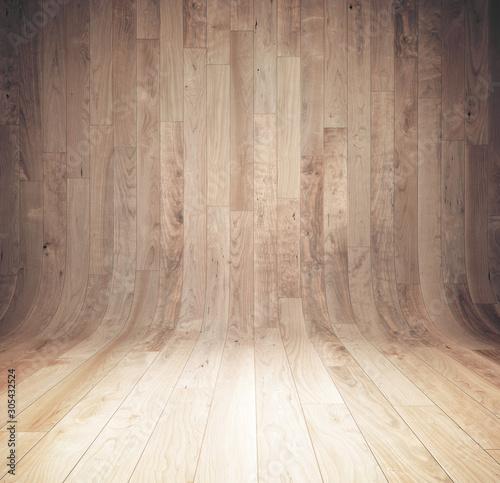 Cuadros en Lienzo Curved wooden background