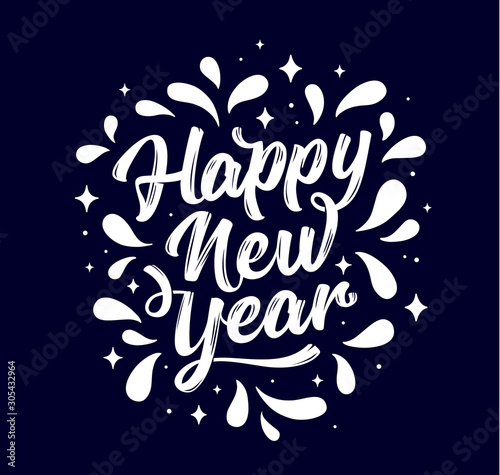 Happy New Year. Lettering text for Happy New Year Tablou Canvas