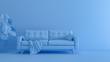 Leinwandbild Motiv 3D rendering of blue monochrome space with sofa
