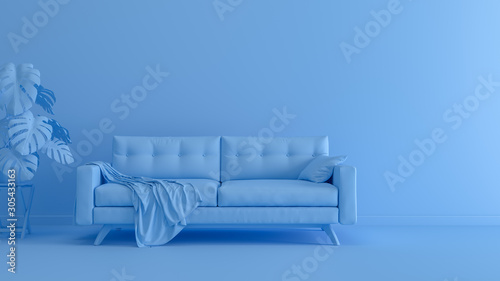 Fotomural  3D rendering of blue monochrome space with sofa