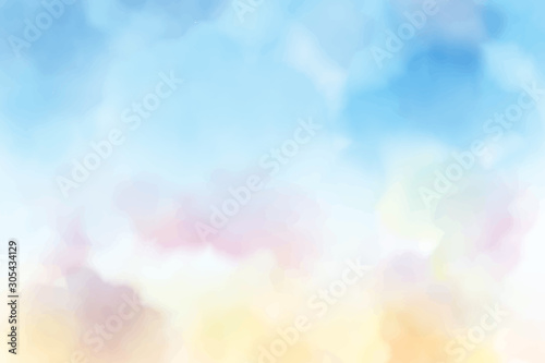Foto auf AluDibond Licht blau beautiful sweet cotton candy twilight sky watercolor background eps10 vectors illustration