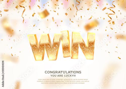 Fotografía Celebration of win on falling down confetti background