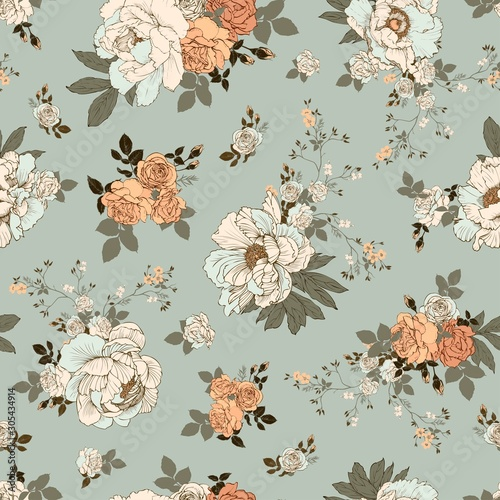 Seamless vector pattern with a bouquet of peonies and roses. Rocco ornament