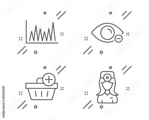 Fotografía  Myopia, Line graph and Add purchase line icons set