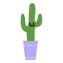 Vector Illustration Of A Textured Saguaro Cactus In A Plant Pot With A Cute Happy Face And Moustache.