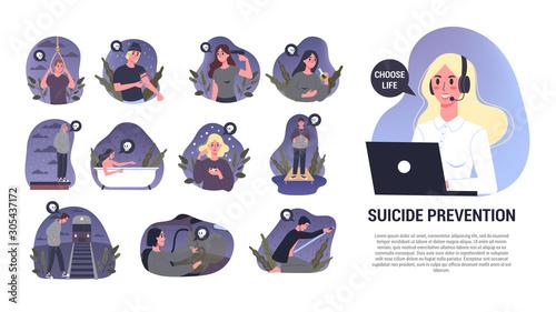 Obraz na plátně Vector illustratiion of diffrent suicide methods set. Sad people