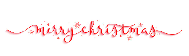 MERRY CHRISTMAS red vector brush calligraphy banner with snowflakes