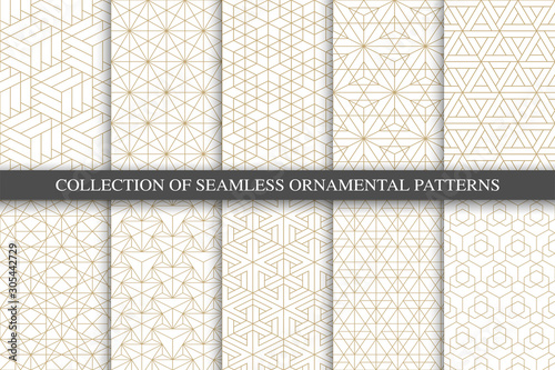 Cuadros en Lienzo  Collection of seamless ornamental geometric minimalistic patterns